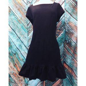 WHBM Black Babydoll Ruffle Sheath Dress